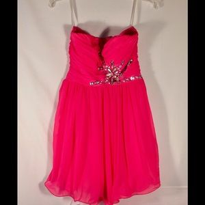 Deb Strapless Pink Formal Dress